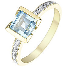 9ct Gold Square Blue Topaz & Diamond Ring - Product number 5310199
