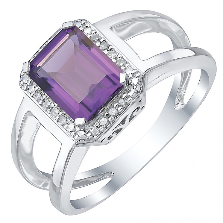 Silver Amethyst & 0.06ct Diamond Ring - Product number 5310466