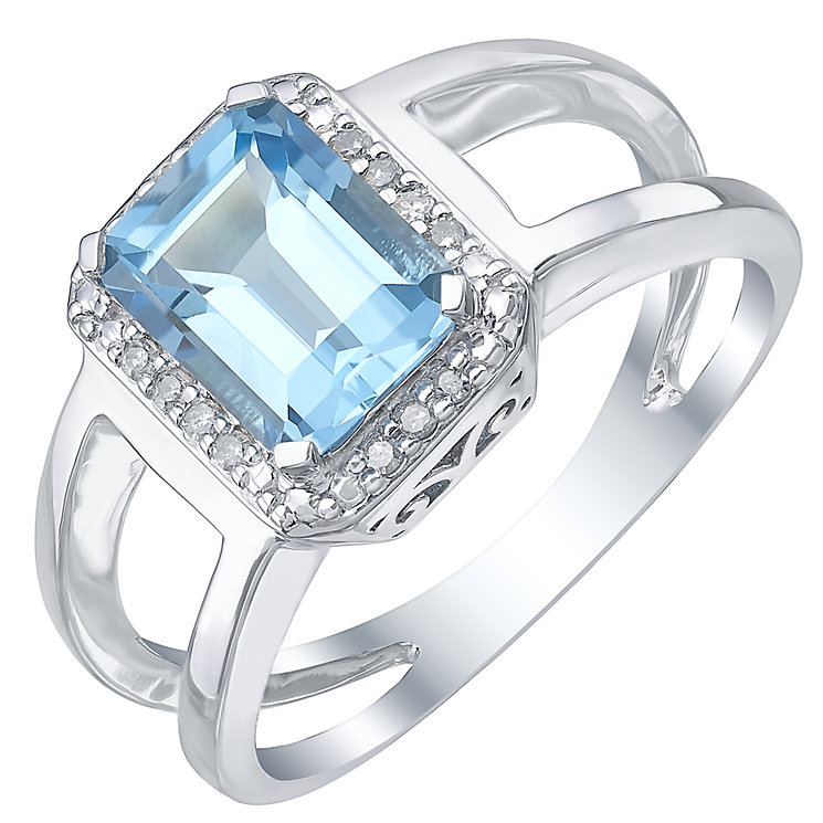 Sterling Silver Blue Topaz & Diamond Ring - Product number 5310598