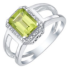Sterling Silver Peridot & Diamond Ring - Product number 5310725