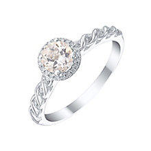 Sterling Silver Morganite & Diamond Ring - Product number 5310997