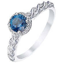 Sterling Silver London Blue Topaz & Diamond Ring - Product number 5311136