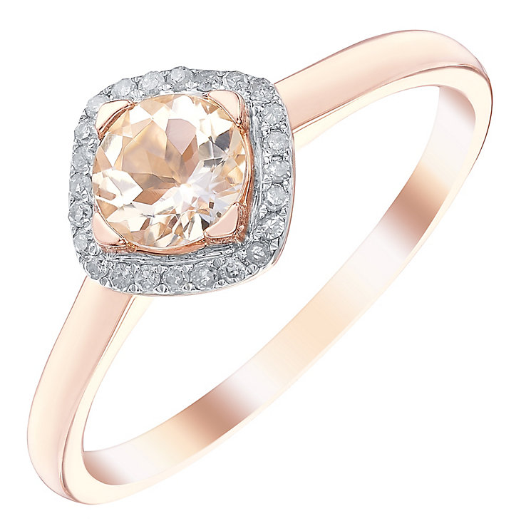 9ct Rose Gold Morganite & Diamond Ring - Product number 5311268
