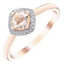 9ct Rose Gold Morganite & Diamond Ring - Product number 5311268