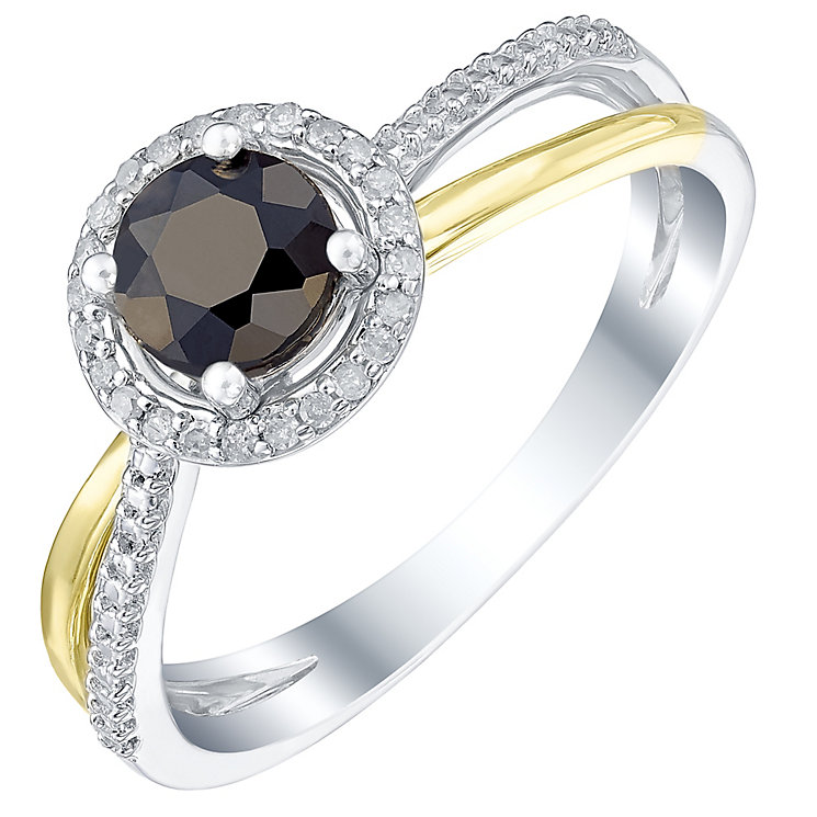 Sterling Silver & 9ct Gold Sapphire & Diamond Ring - Product number 5311381