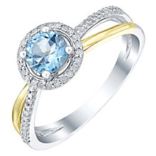 Sterling Silver & 9ct Gold Blue Topaz & Diamond Ring - Product number 5311527
