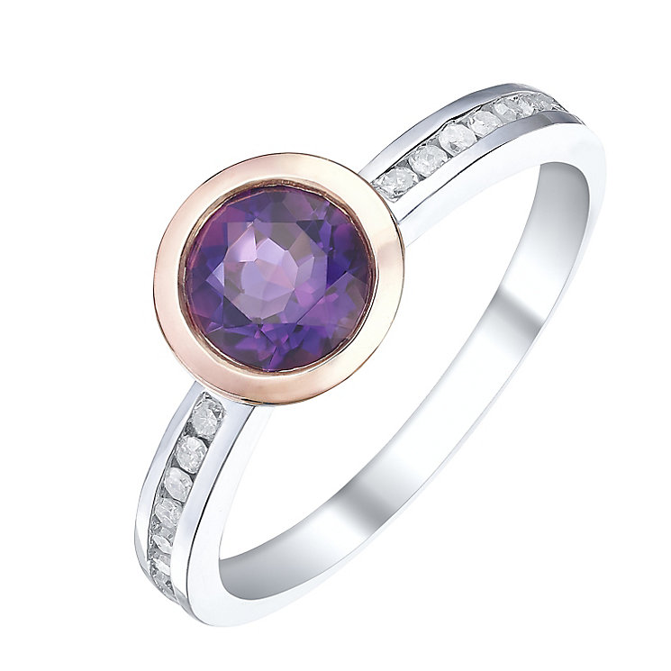 Sterling Silver & 9ct Rose Gold Amethyst & Diamond Ring - Product number 5311780