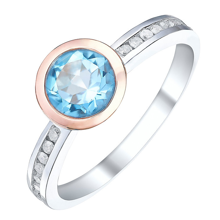 Sterling Silver & 9ct Rose Gold Blue Topaz & Diamond Ring - Product number 5311926