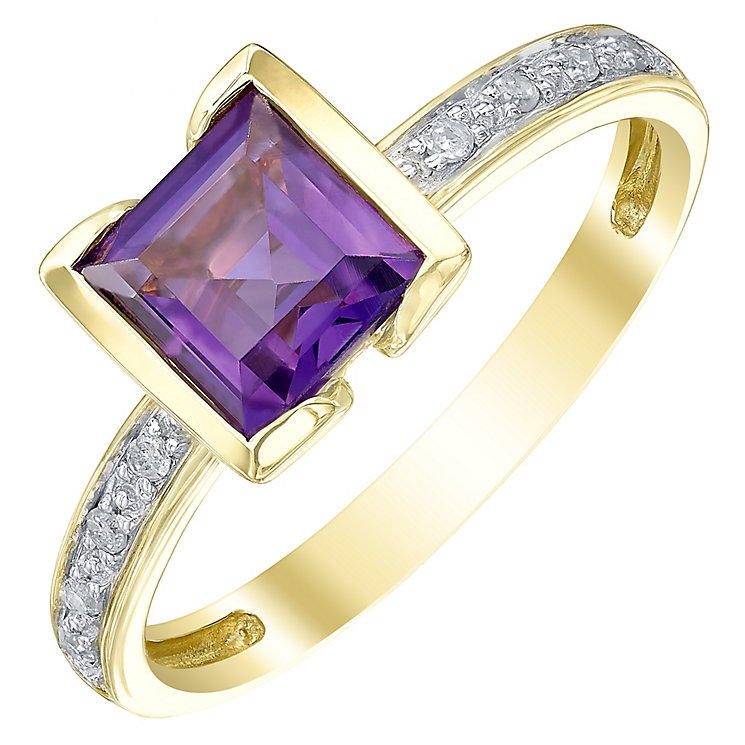 9ct Gold Square Amethyst & Diamond Ring - Product number 5312043
