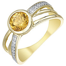 9ct Gold Citrine & 0.09ct Diamond Ring - Product number 5312175