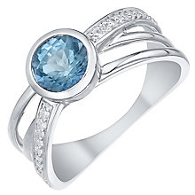 Sterling Silver Blue Topaz & 0.9ct Diamond Ring - Product number 5312337