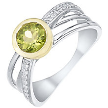 Sterling Silver & 9ct Gold Peridot & Diamond Ring - Product number 5312507