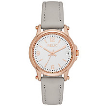 Relic Matilda Ladies' Rose Tone Grey Leather Strap Watch - Product number 5320976