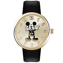 Disney Mickey Mouse Gold Dial Black Leather Strap Watch - Product number 5323266