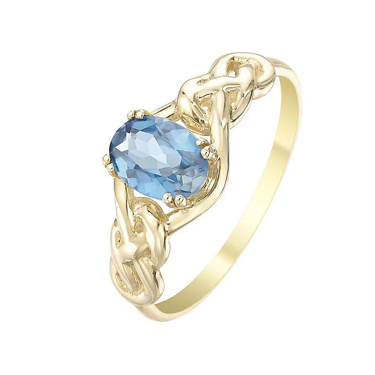 9ct Gold London Blue Topaz Celtic Knot Shoulder Ring - Product number 5323754