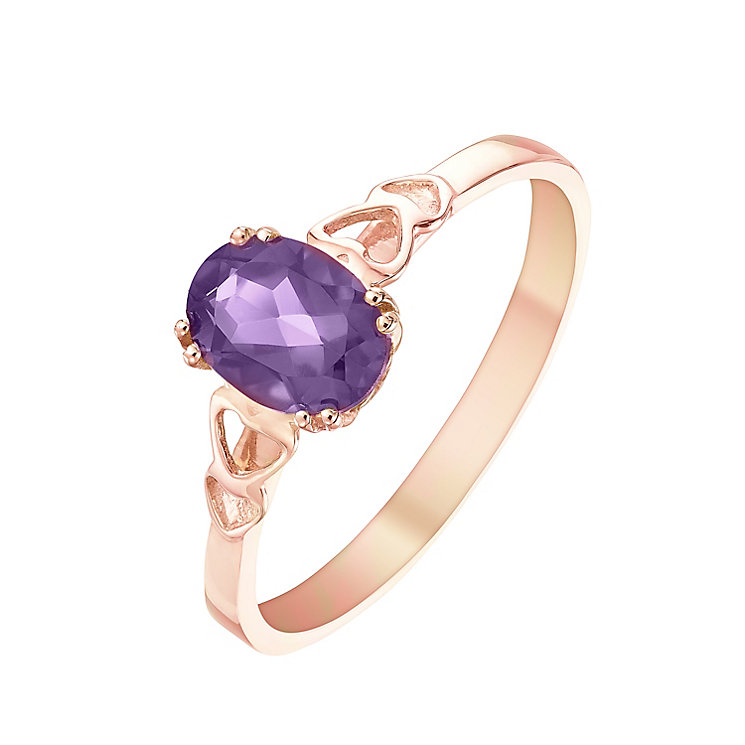 9ct Rose Gold Amethyst Heart Shoulder Detail Ring - Product number 5324254