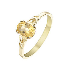 9ct Gold Citrine Heart Shoulder Detail Ring - Product number 5324408