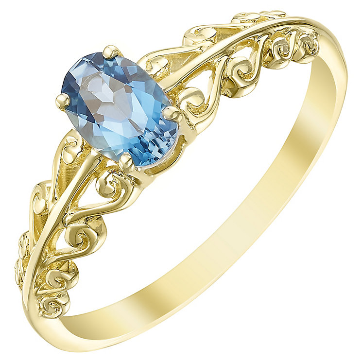 9ct Gold London Blue Topaz Fancy Shoulder Ring - Product number 5325013