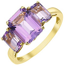 9ct Gold Baguette Cut Amethyst Trilogy Ring - Product number 5325757