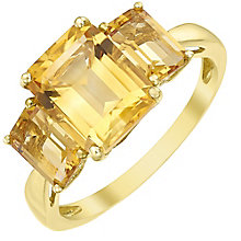 9ct Gold Baguette Cut Citrine Trilogy Ring - Product number 5325919