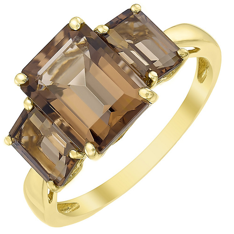 9ct Gold Baguette Cut Smokey Quartz Trilogy Ring - Product number 5326060