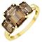 9ct Gold Baguette Cut Smokey Quartz Trilogy Ring - Product number 5326060