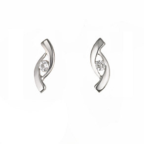 9ct White Gold Cubic Zirconia Earrings - Product number 5334462