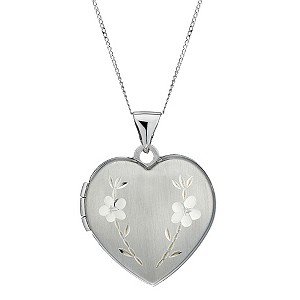 9ct White Gold Diamond Cut Heart Locket