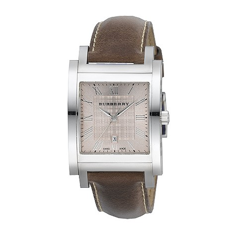 Burberry men's stainless steel tan leather strap watch