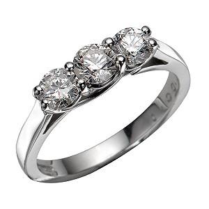 18ct White Gold 1 Carat Diamond Three-stone Ring
