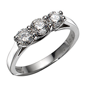 18ct White Gold 1 Carat Diamond Three-stone Ring - Product number 5363039