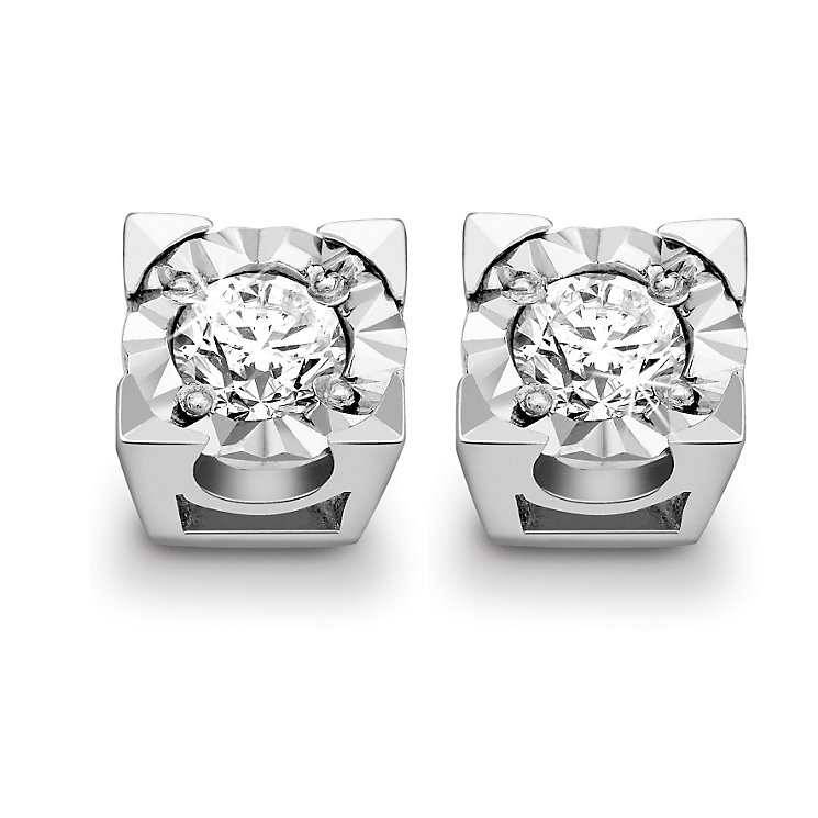 9ct White Gold 1 / 4 Carat Diamond Stud Earrings - Product number 5369614