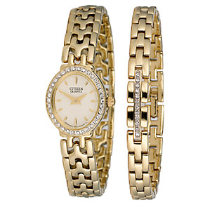 Citizen Ladies' Gold-plated Stone-set Bracelet Watch Set - Product number 5369649