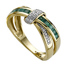 9ct Gold Treated Emerald & Diamond Crossover Ring - Product number 5371821