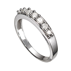 18ct White Gold 1/2 Carat Diamond Seven Stone Eternity Ring - Product number 5372275