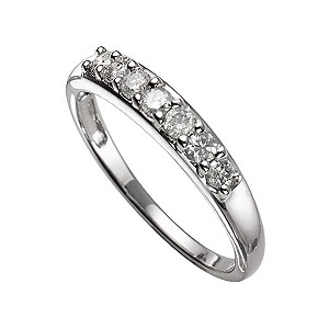 18ct White Gold 1/4 Carat Diamond Seven Stone Eternity Ring