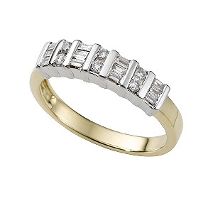 18ct two-colour gold quarter carat diamond ring - Product number 5373417