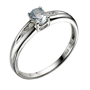 9ct White Gold Blue Topaz Ring