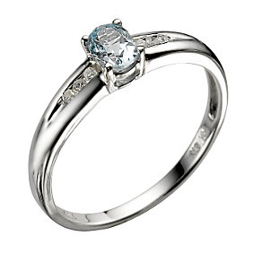 9ct White Gold Blue Topaz Ring - Product number 5374006