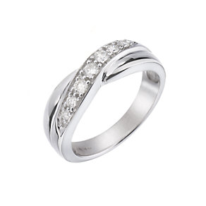 9ct White Gold 1/4 Carat Diamond Cross-over Ring - Product number 5379210