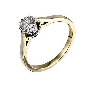 9ct Yellow Gold Third Carat Diamond Illusion Ring