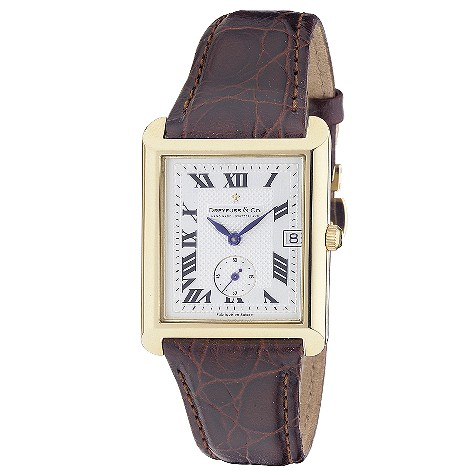 Dreyfuss & Co mens 18ct gold brown leather strap watch