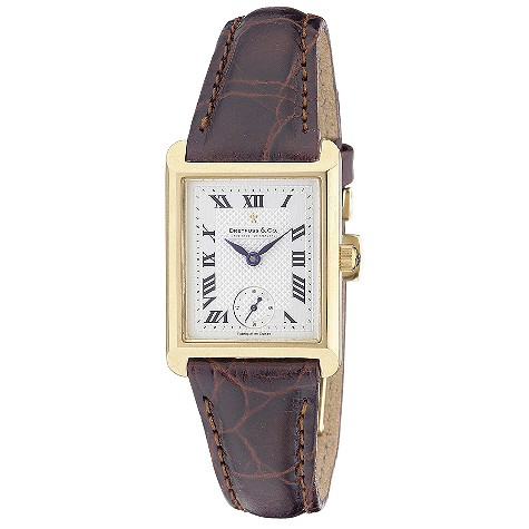 Dreyfuss & Co ladies' 18ct gold brown leather strap watch