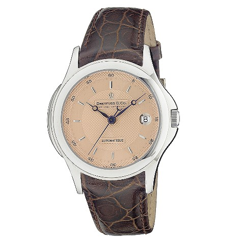 Dreyfuss & Co men's automatic brown leather strap watch