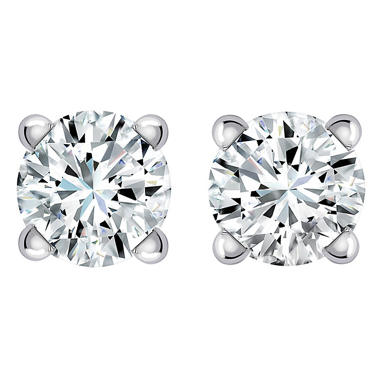 9ct White Gold 1/3 Carat Diamond Stud Earrings - Product number 5381053