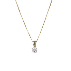 9ct Gold 0.15 Carat Diamond Solitaire Pendant - Product number 5381223