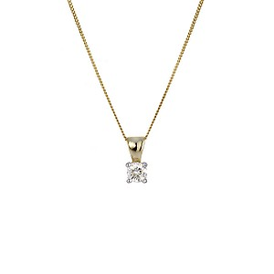 9ct Yellow Gold Fifth Carat Diamond Pendant Necklace