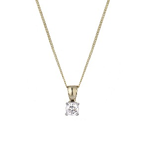 9ct Yellow Gold 1/4 Carat Solitaire Diamond Necklace