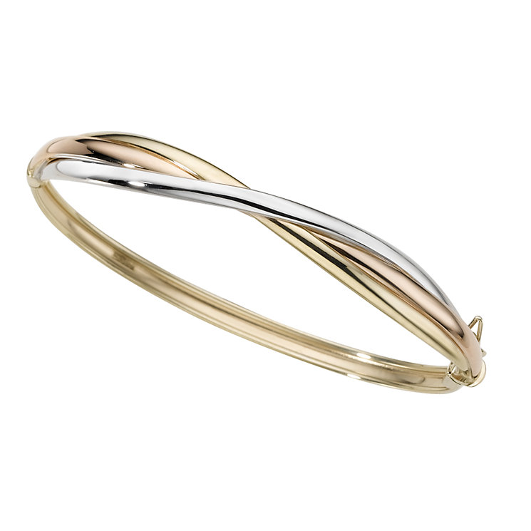 9ct three-colour gold twist bangle - Product number 5386837