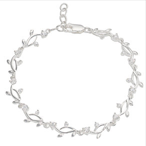 Silver Cubic Zirconia Leaf Pattern Bracelet - Product number 5389240